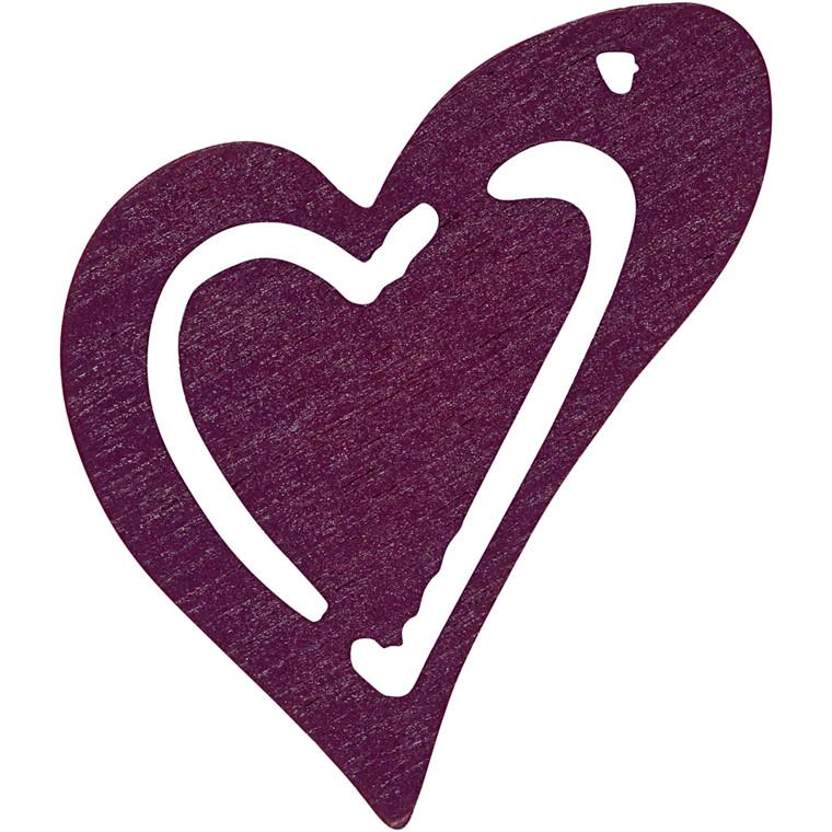 Asymmetrisk hjerte, str. 25x22 mm, tykkelse 1,7 mm, mørk lilla, 20stk.