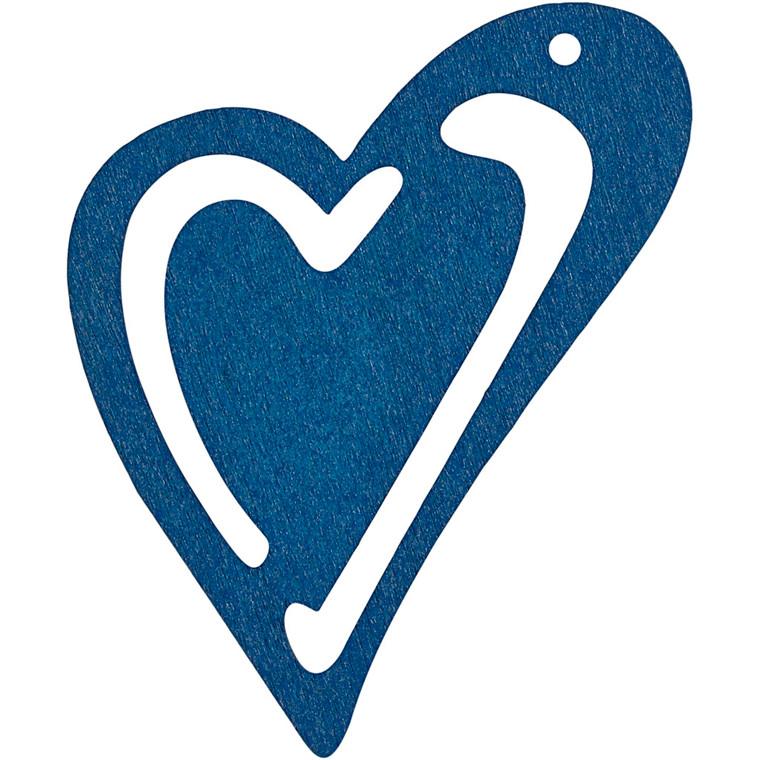 Asymmetrisk hjerte, str. 55x45 mm, tykkelse 2 mm, mørk blå, 10stk.