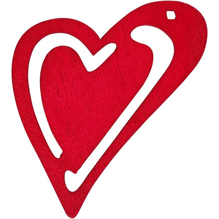 Asymmetrisk hjerte, str. 55x45 mm, tykkelse 2 mm, pink, 10stk.