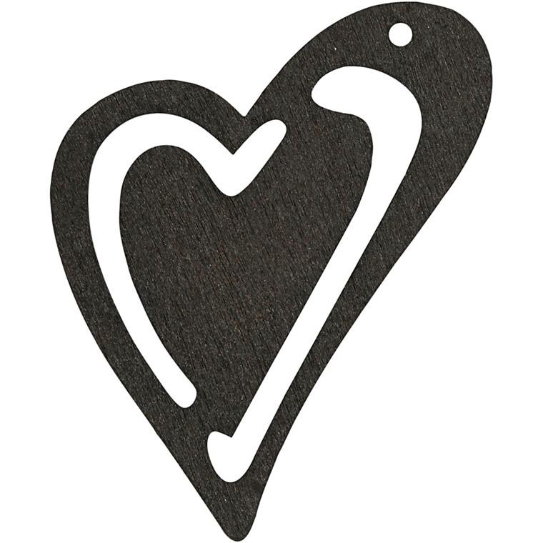 Asymmetrisk hjerte, str. 55x45 mm, tykkelse 2 mm, sort, 10stk.