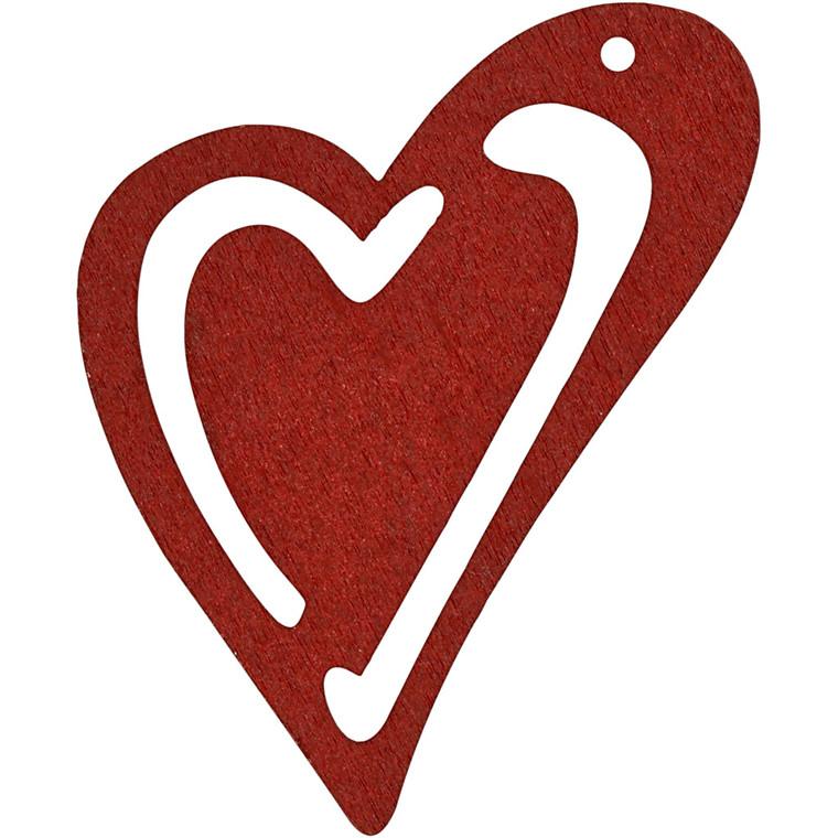 Asymmetrisk hjerte størrelse 55 x 45 mm tykkelse 2 mm vinrød - 10 stk.