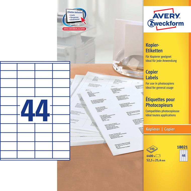 Avery 18021 -  Kopietiketter 44 pr. ark 25,4 x 52,5 mm - 100 ark
