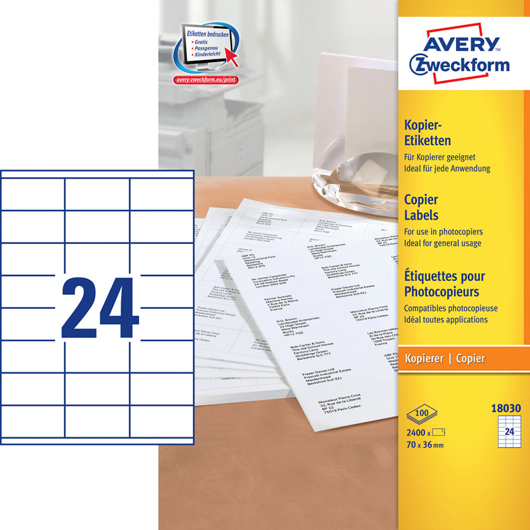 Avery 18030 - Kopietiket 24 pr. ark 36 x 70 mm - 100 ark