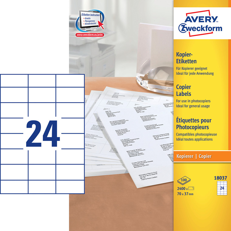 Avery 18037 - Copy etiket 24 pr. ark  37 x 70 mm  - 100 ark