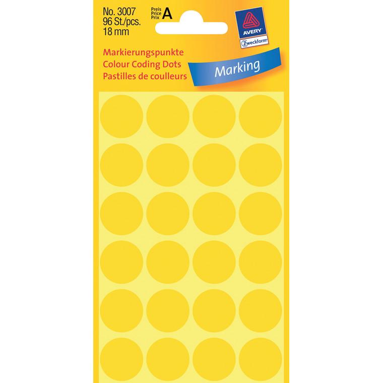 Avery 3007  - Manuelle etiketter gul Ø: 18 mm - 96 stk