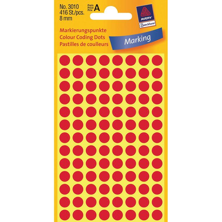 Avery 3010 - Manuelle etiketter rød Ø: 8 mm - 416 stk