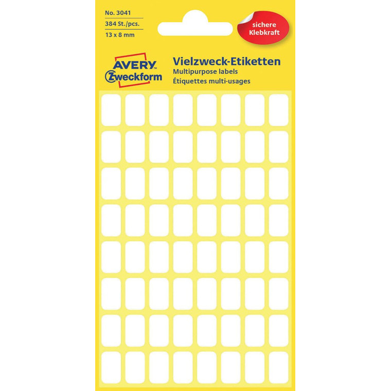 Avery 3041- Manuelle etiketter hvid 13 x 8 mm - 384 stk