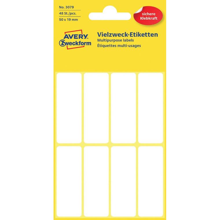 Avery 3079 - Manuelle labels hvid 50 x 19 mm - 48 stk