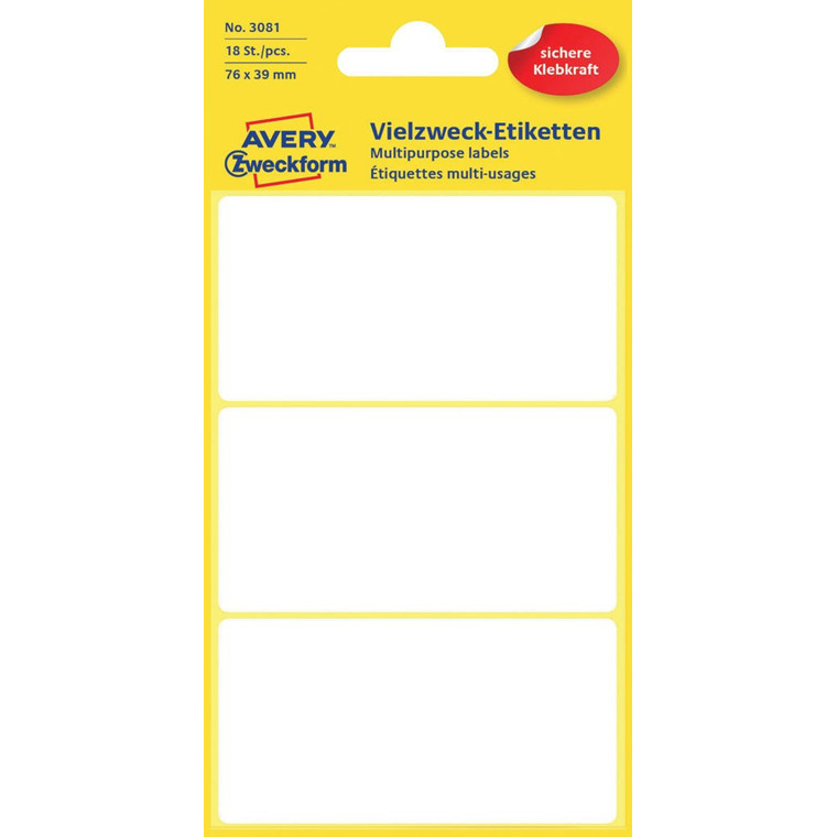 Avery 3081 - Manuelle etiketter hvid 76 x 39 mm - 18 stk