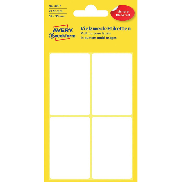 Avery 3087 - Manuel label hvid 54 x 35 mm - 24 stk