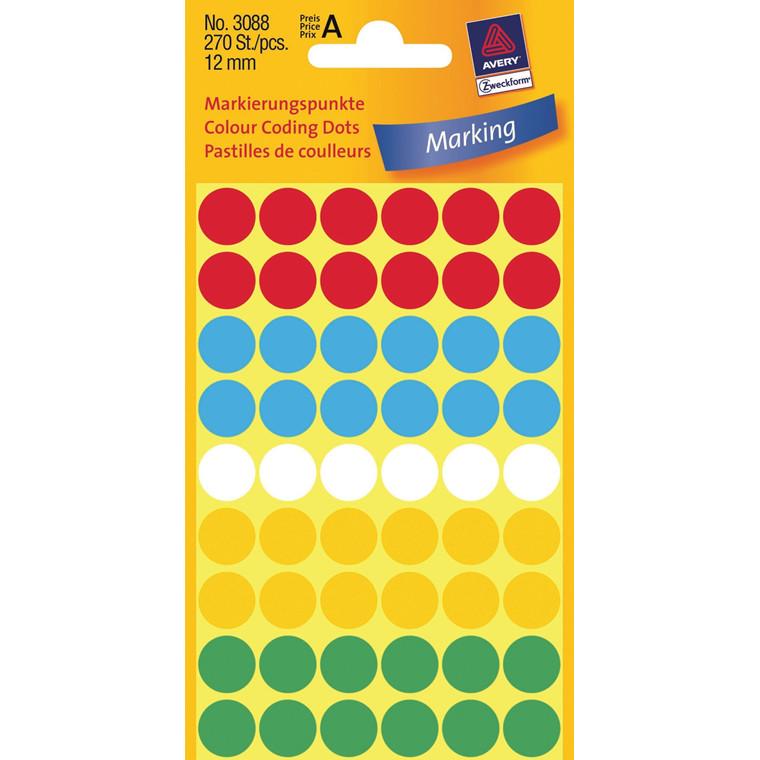 Avery 3088  - Manuelle etiketter assorteret farver Ø: 12 mm - 270 stk