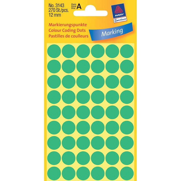 Avery 3143  - Manuelle etiketter grøn Ø: 12 mm - 270 stk