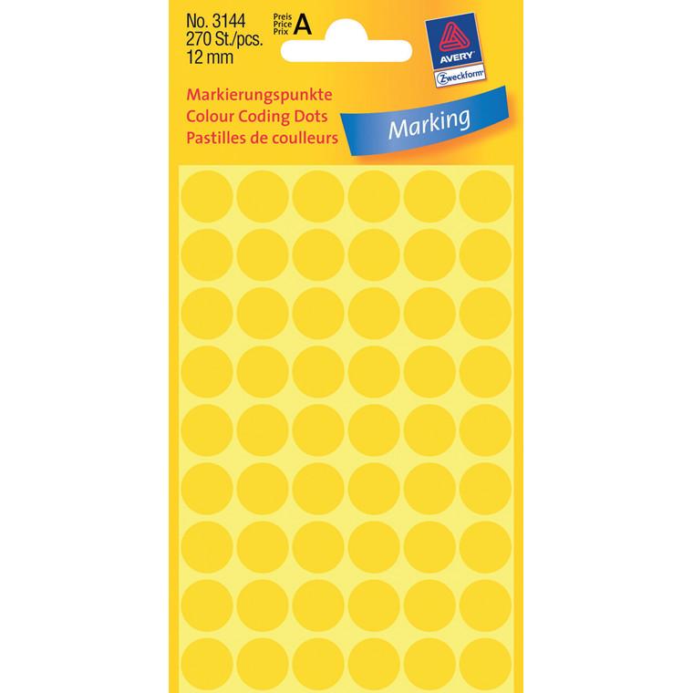 Avery 3144  - Manuelle etiketter gul Ø: 12 mm - 270 stk