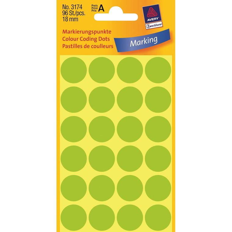 Avery 3174  - Runde farvekodingsdots neon grøn Ø: 18 mm - 96 stk