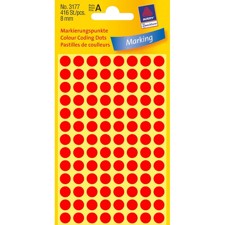 Avery 3177 - Farvekodingsdots neon rød Ø: 8 mm - 416 stk