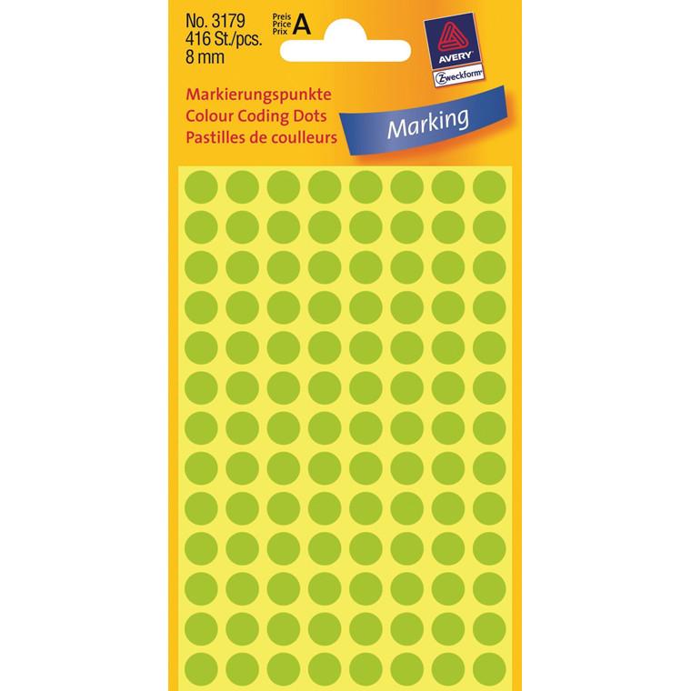 Avery 3179 - Runde Etiketter neongrøn Ø: 8 mm - 416 stk