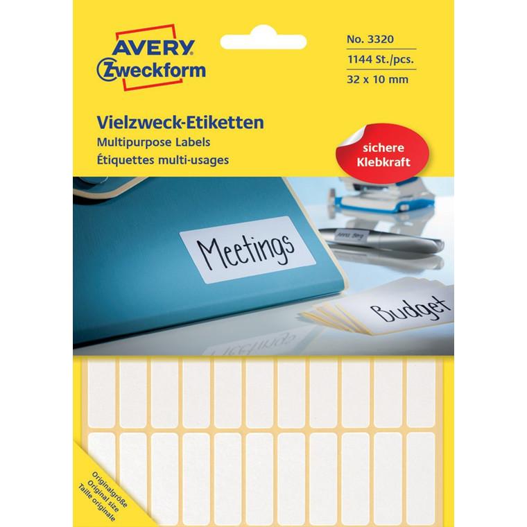 Avery 3320 - Manuelle etiketter hvid 32 x 10 mm - 1144 stk