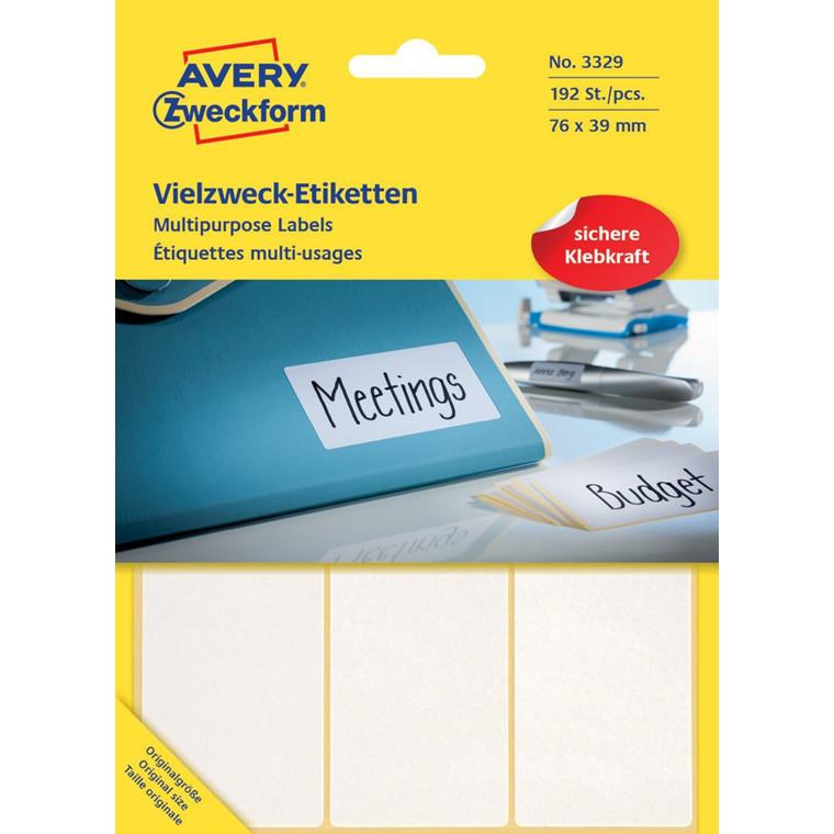 Avery 3329  - Manuelle etiket hvid 76 x 39 mm - 192 stk