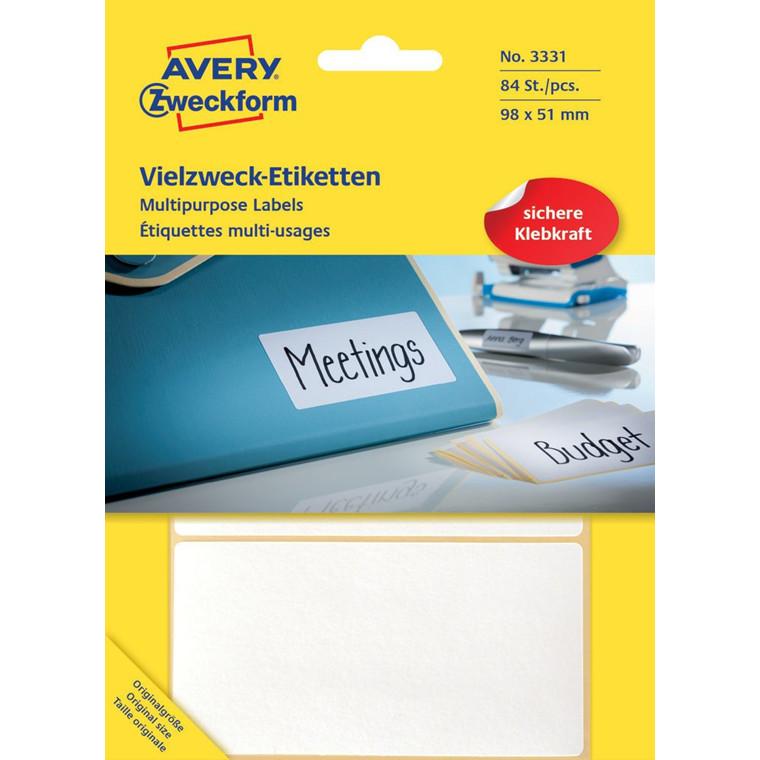 Avery 3331  - Manuelle labels hvid 98 x 51 mm - 84 stk