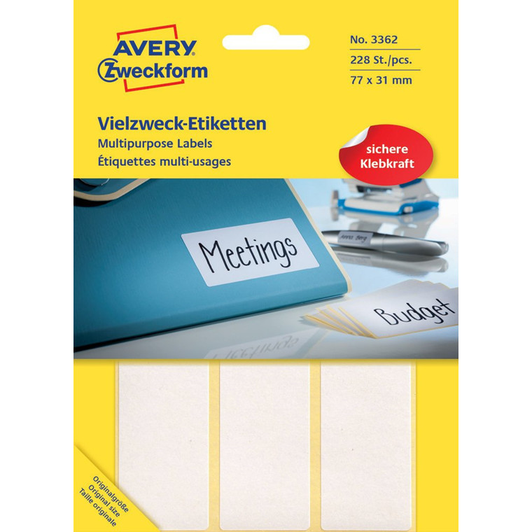 Avery 3362 Manuelle etiketter hvid 77 x 31 mm - 224 stk
