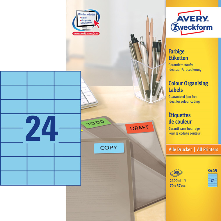 Avery 3449 - Farvede etiketter blå 24 pr. ark 70 x 37 mm - 100 ark