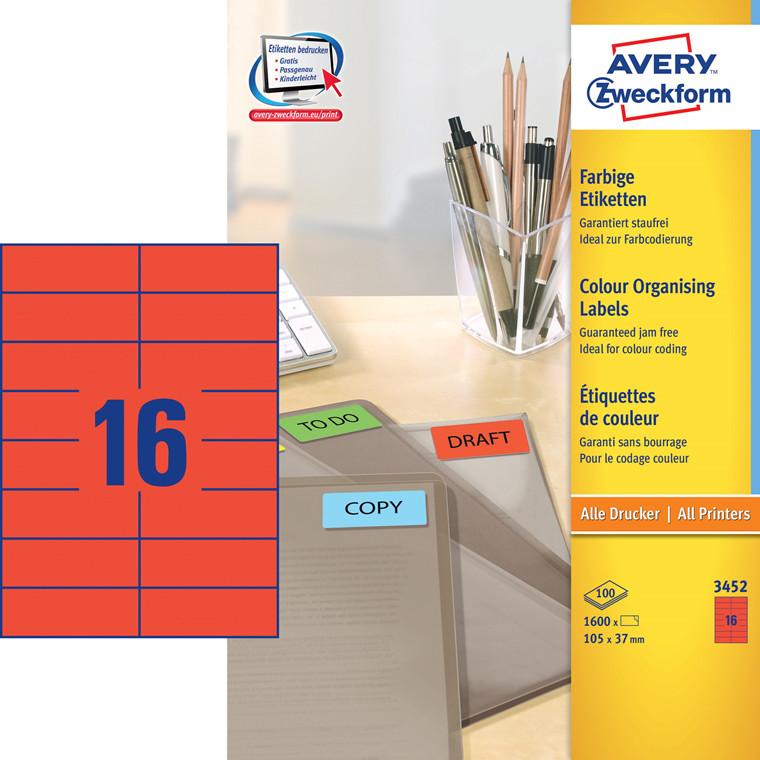 Avery 3452 - Etiket rød 105 x 37 mm  -1600 stk