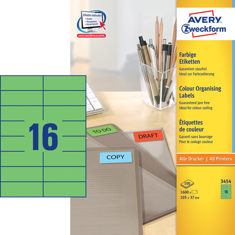 Avery 3454 - Etiketter grøn 105 x 37 mm - 1600 stk