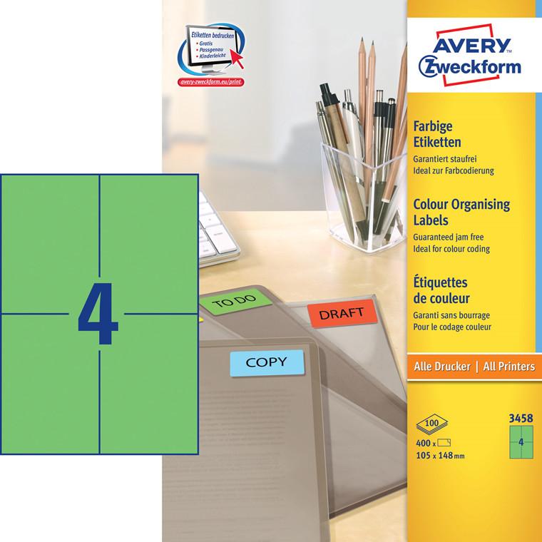 Avery 3458  - Etiket 105 x 148 mm grøn 4 pr. ark - 100 ark