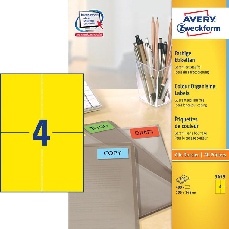 Avery 3459 - Etiketter gul 105 x 148 mm - 400 stk