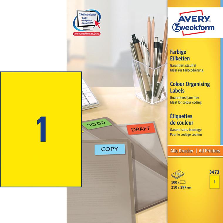 Avery 3473 - Etiket Universal gul 210 x 297 mm  - 100 stk