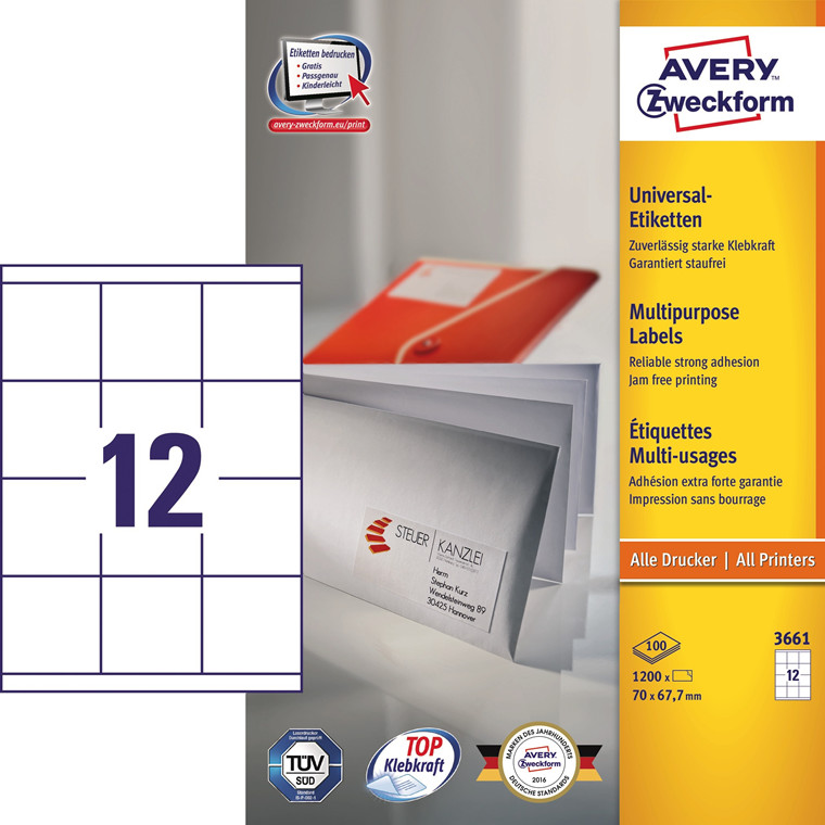 Avery 3661 - Kopietiket 12 pr. ark 67,70 x 70  mm - 100 ark