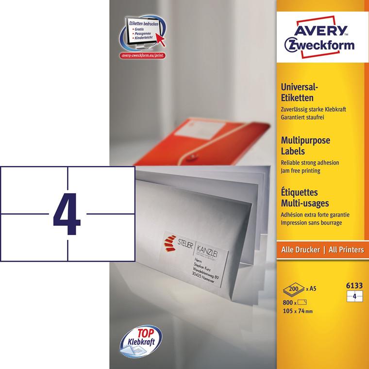 Avery 6133 - Universal etiketter på A5 ark 4 pr. ark 105 x 74 mm - 200 ark