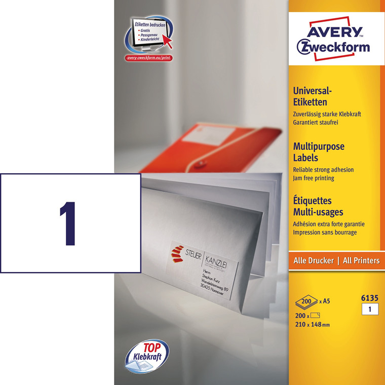 Avery 6135 - Laserlabel A5 1 pr. ark 210 x 148 mm - 200 ark