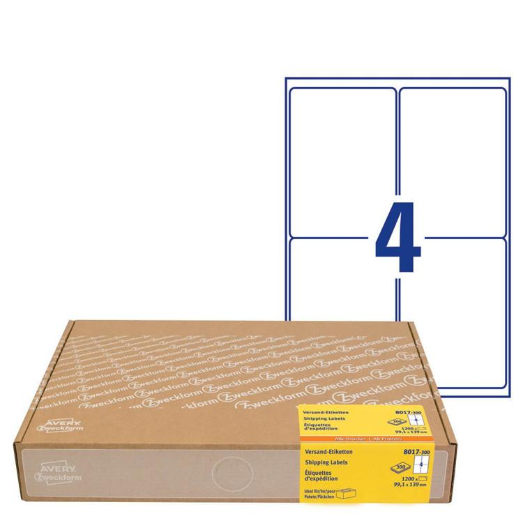 Avery 8017-300 - Forsendelsesetiketter økonomipakke 99,1 x 139 mm - 300 ark