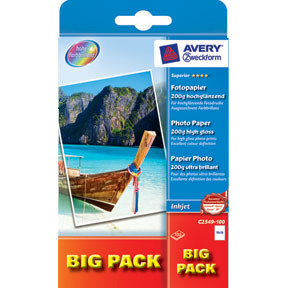 Avery - Foto papir 200 gram glossy inkjet C2549-100 10 x 15 cm - 100 ark