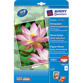 Avery - Foto papir A4 300 gram glossy inkjet - 20 ark