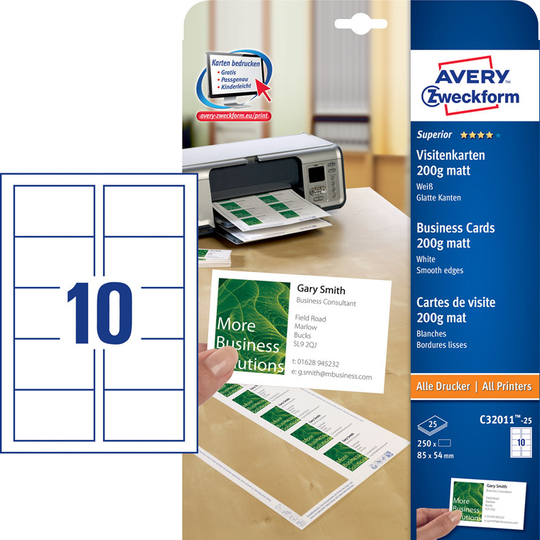 Avery C32011-25 - Visitkort laser/inkjet mat 200g - 250 stk