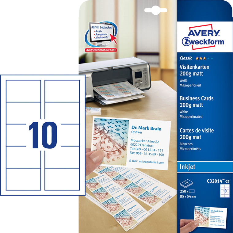Avery  C32014-25 Visitkort inkjet hvid mat 200g - 250 stk