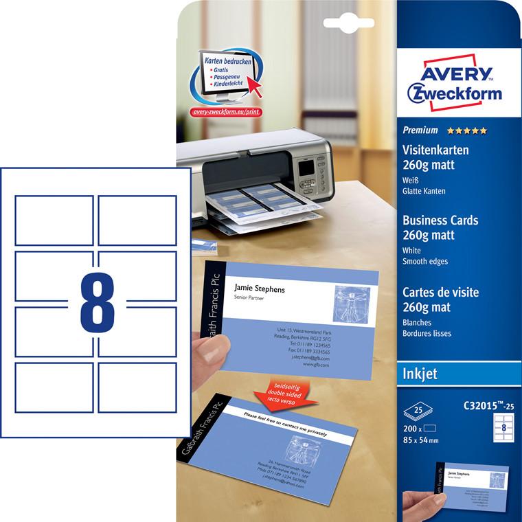 Avery  C32015-25 - Visitkort inkjet hvid mat 260g - 200 stk
