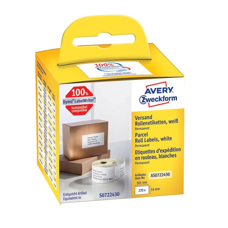 Avery forsendelsesetiket på rulle 101x54mm (220)