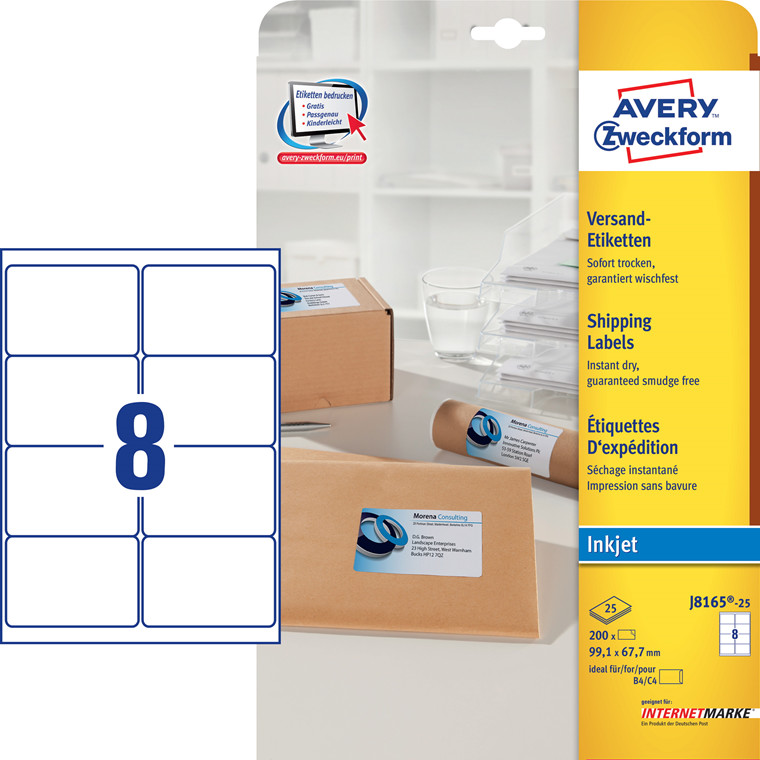 Avery J8165-25 - Shippinglabel inkjet 8 pr. ark 99,1 x 67,7 mm - 25 ark