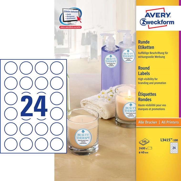 Avery L3415-100 - Promotion etiketter runde 24 pr. ark Ø: 40 mm - 100 ark