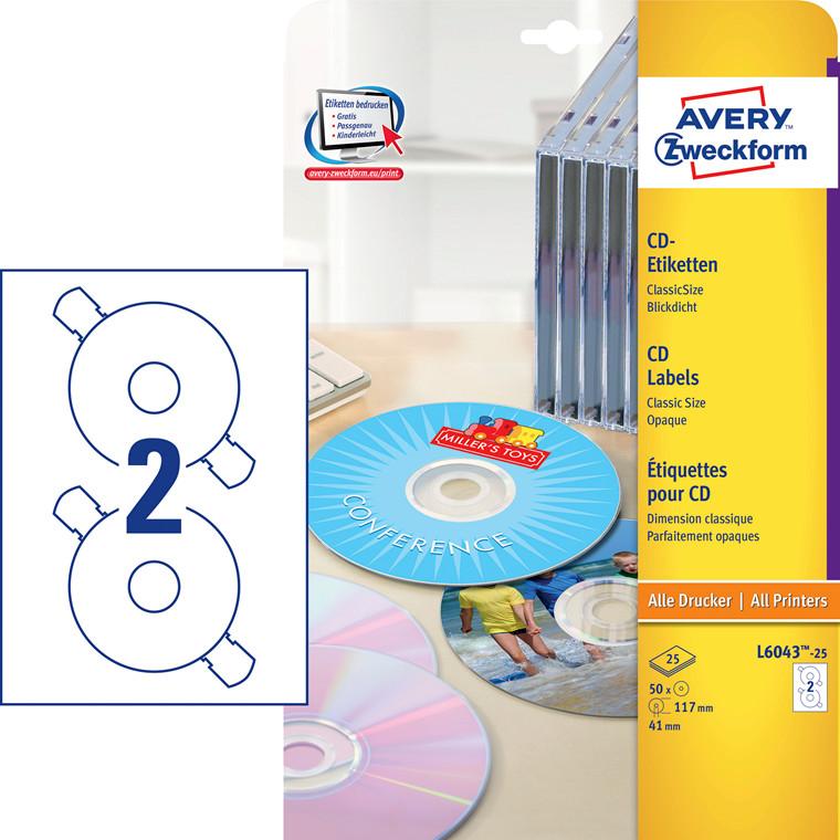 Avery L6043-25 - CD-labels Ø: 117mm - 50 stk
