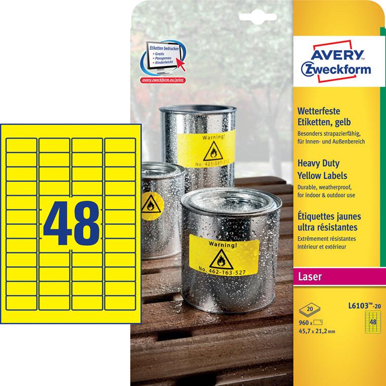 Avery L6103-20 - Laserlabel stærk gul 48 pr. ark 45,7 x 21,2 mm - 20 ark