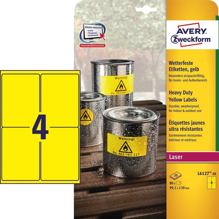 Avery L6127-20 - Stærke etiketter gul 4 pr. ark 99,1 x 139 mm - 20 ark