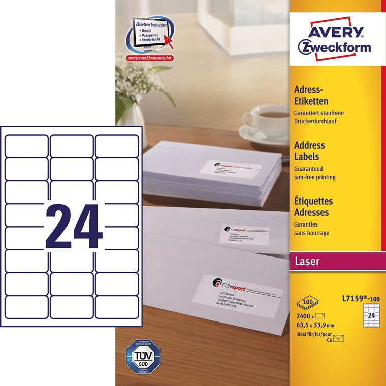 Avery L7159 - Laserlabel 24 pr. ark 63,5 x 33,9 mm - 100 ark
