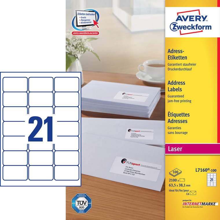 Avery L7160 - Laseretiketer 21 pr. ark 63,5 x 38,1 mm - 100 ark
