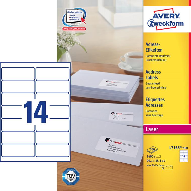 Avery L7163 - Laser etiketter 14 pr. ark 99,1 x 38,1 mm - 100 ark