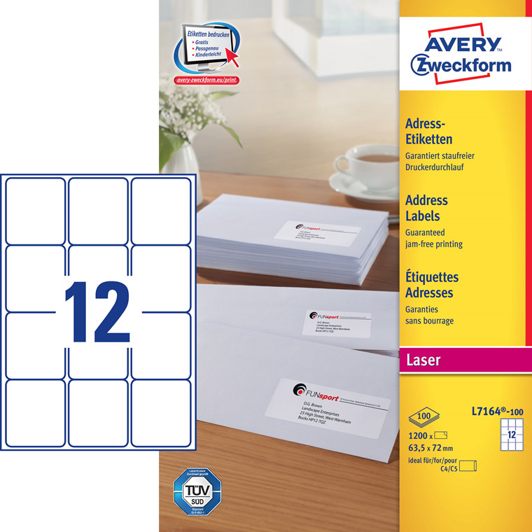 Avery L7164 - Laserlabel 12 pr. ark  63,5 x 72 mm - 100 ark