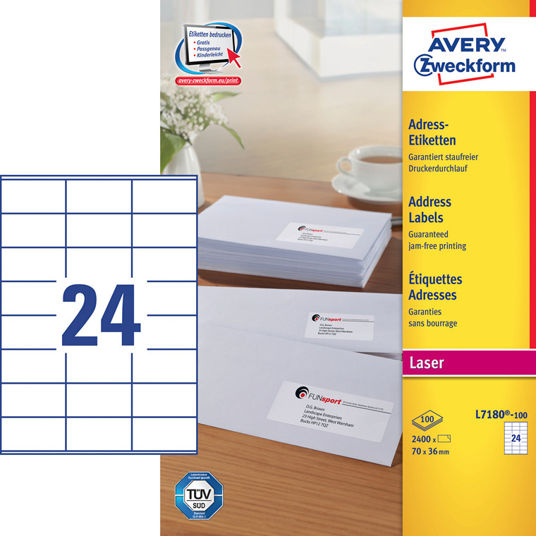 Avery L7180 - Laser label 24 pr. ark 70 x 36 mm - 100 ark